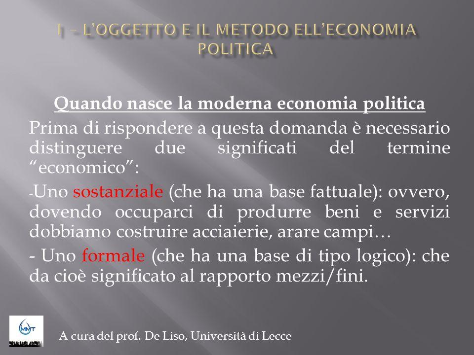 1 – L'OGGETTO E IL METODO ELL'ECONOMIA POLITICA