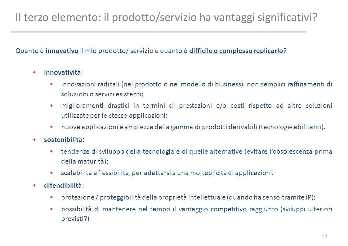 Il terzo elemento: il prodotto/servizio ha vantaggi significativi