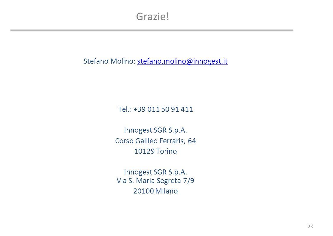 Grazie! Stefano Molino: stefano.molino@innogest.it