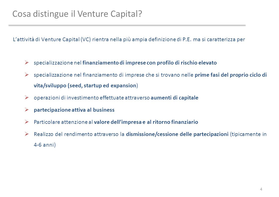 Cosa distingue il Venture Capital