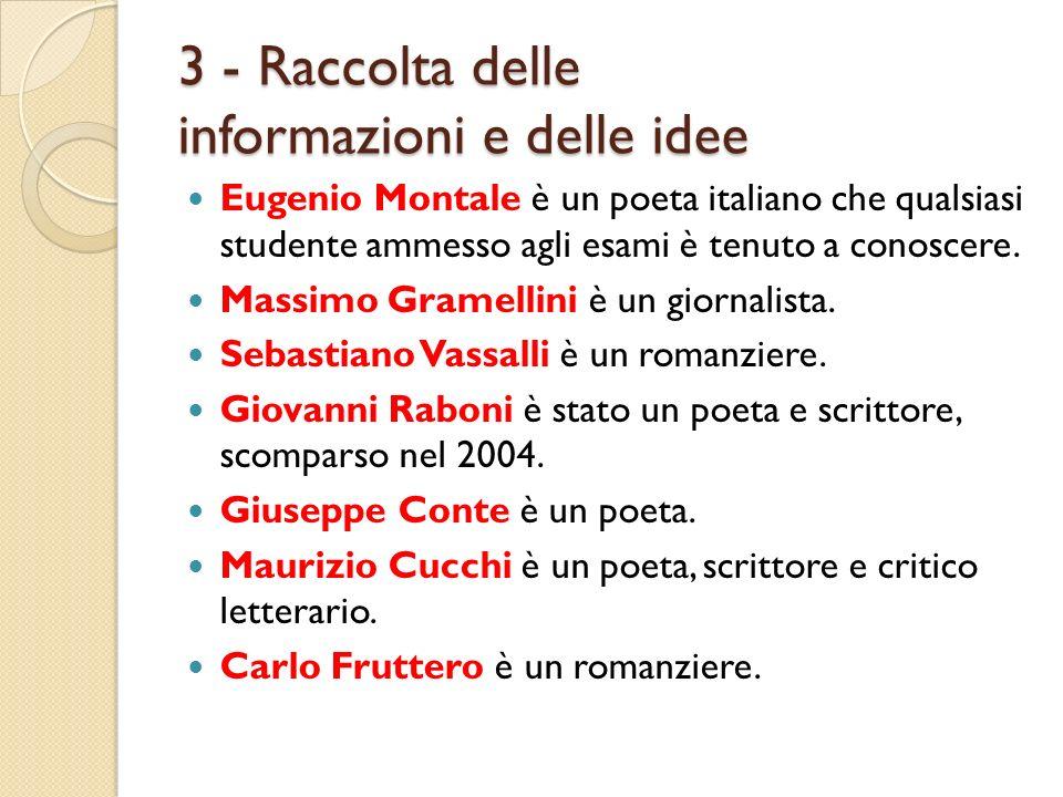 3 - Raccolta delle informazioni e delle idee