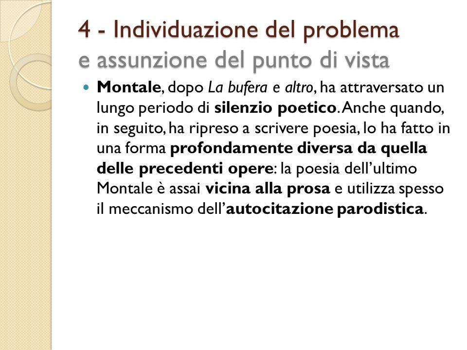 4 - Individuazione del problema e assunzione del punto di vista
