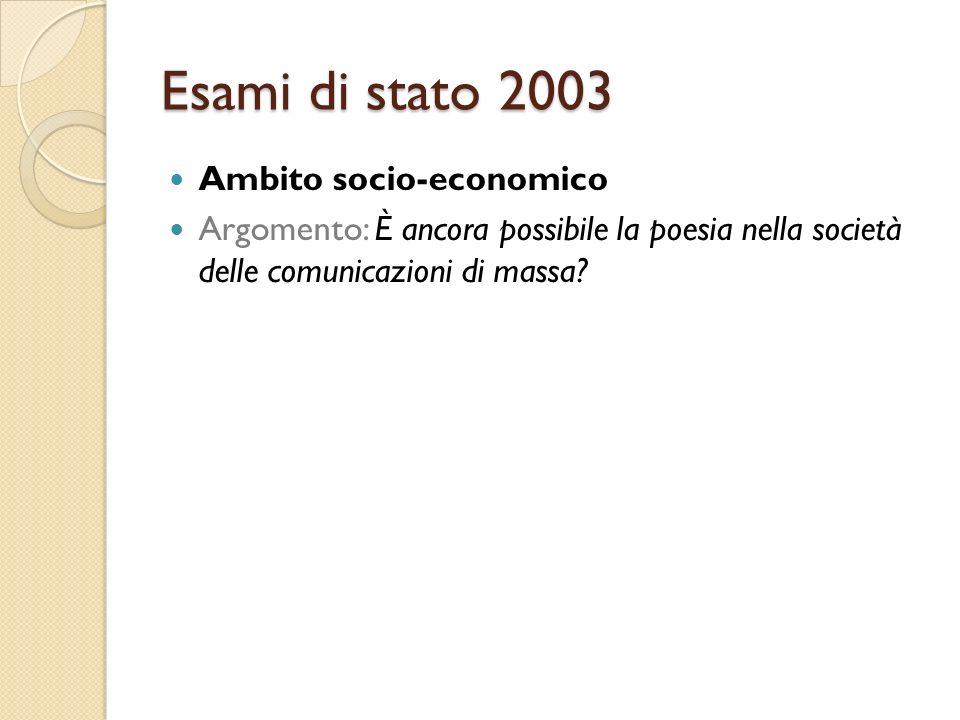 Esami di stato 2003 Ambito socio-economico