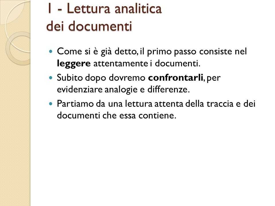 1 - Lettura analitica dei documenti
