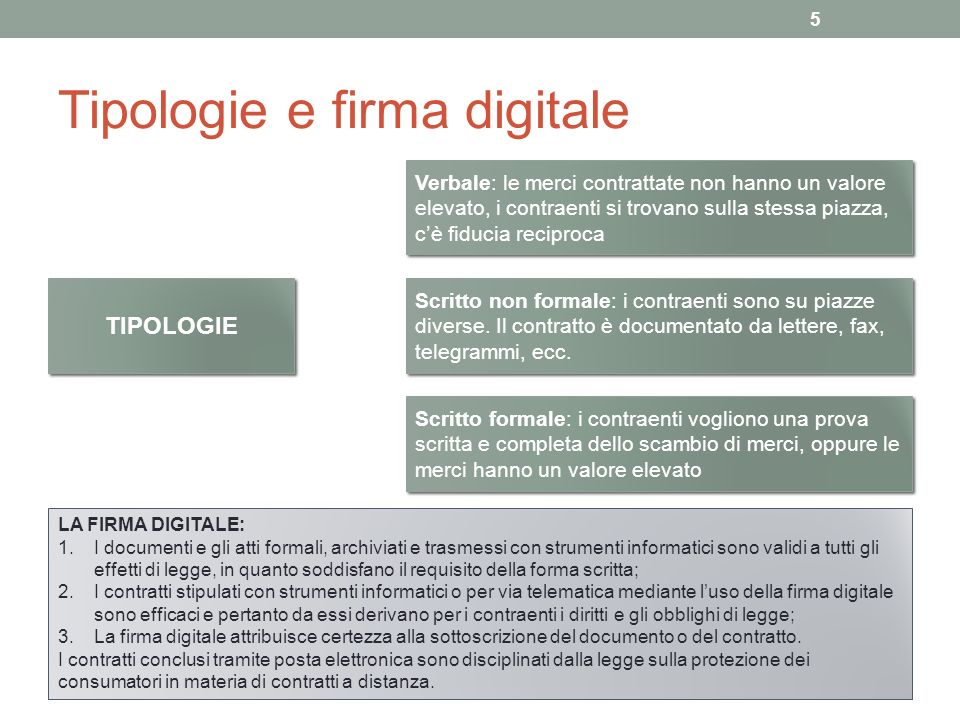 Tipologie e firma digitale