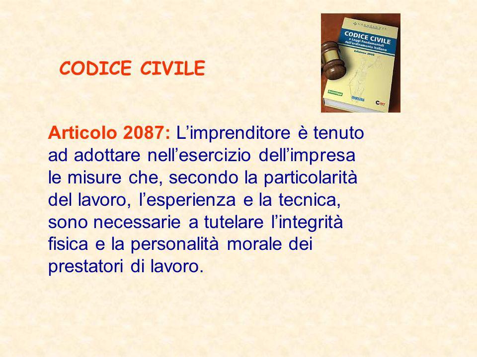 CODICE CIVILE Articolo 2087: L'imprenditore è tenuto. ad adottare nell'esercizio dell'impresa. le misure che, secondo la particolarità.