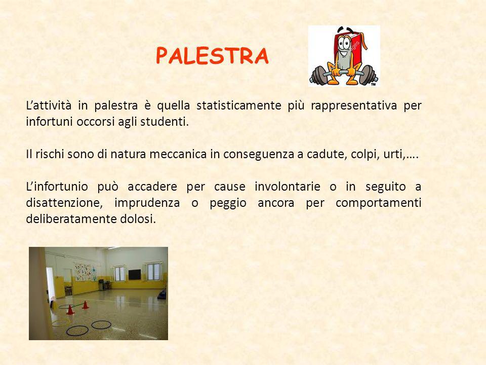 PALESTRA L'attività in palestra è quella statisticamente più rappresentativa per infortuni occorsi agli studenti.