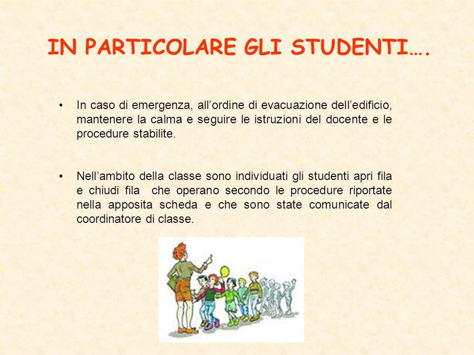 IN PARTICOLARE GLI STUDENTI….