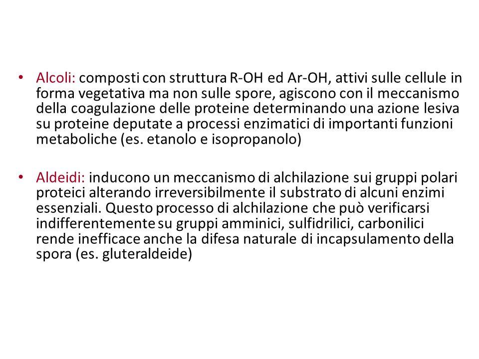 Alcoli: composti con struttura R-OH ed Ar-OH, attivi sulle cellule in forma vegetativa ma non sulle spore, agiscono con il meccanismo della coagulazione delle proteine determinando una azione lesiva su proteine deputate a processi enzimatici di importanti funzioni metaboliche (es. etanolo e isopropanolo)