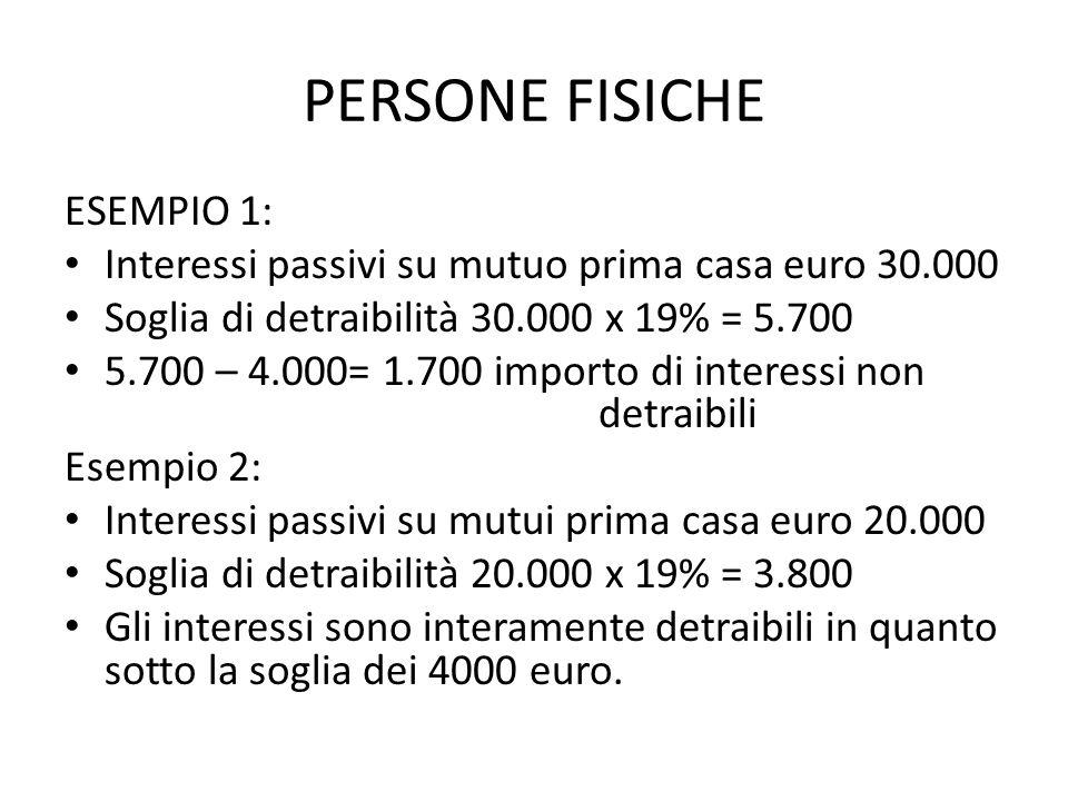 PERSONE FISICHE ESEMPIO 1: