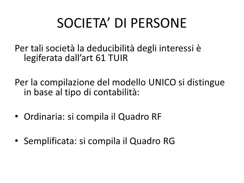 SOCIETA' DI PERSONE Per tali società la deducibilità degli interessi è legiferata dall'art 61 TUIR.