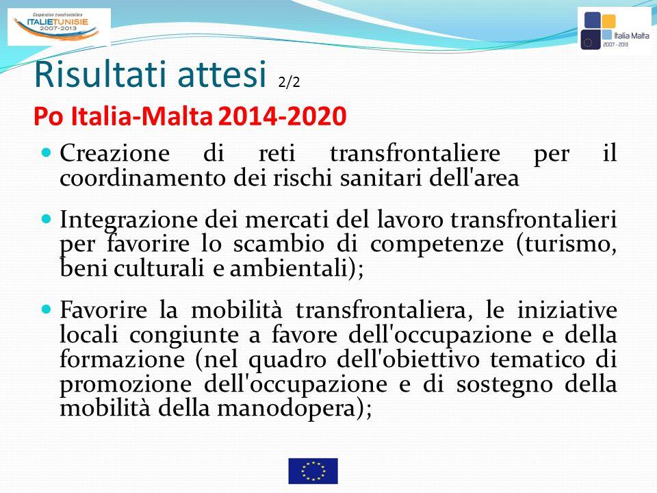 Risultati attesi 2/2 Po Italia-Malta 2014-2020