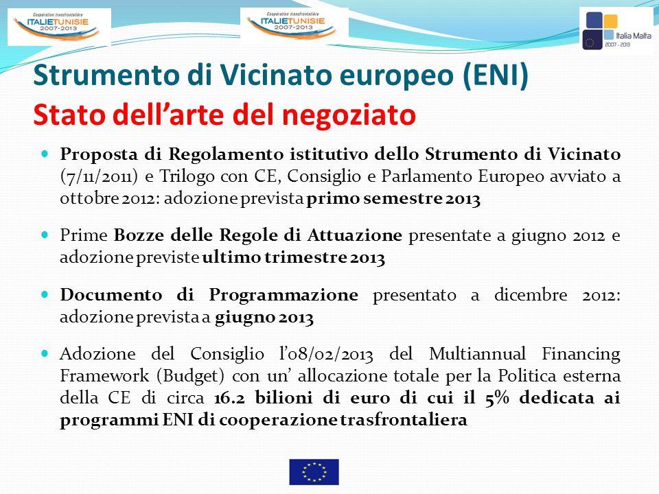 Strumento di Vicinato europeo (ENI) Stato dell'arte del negoziato