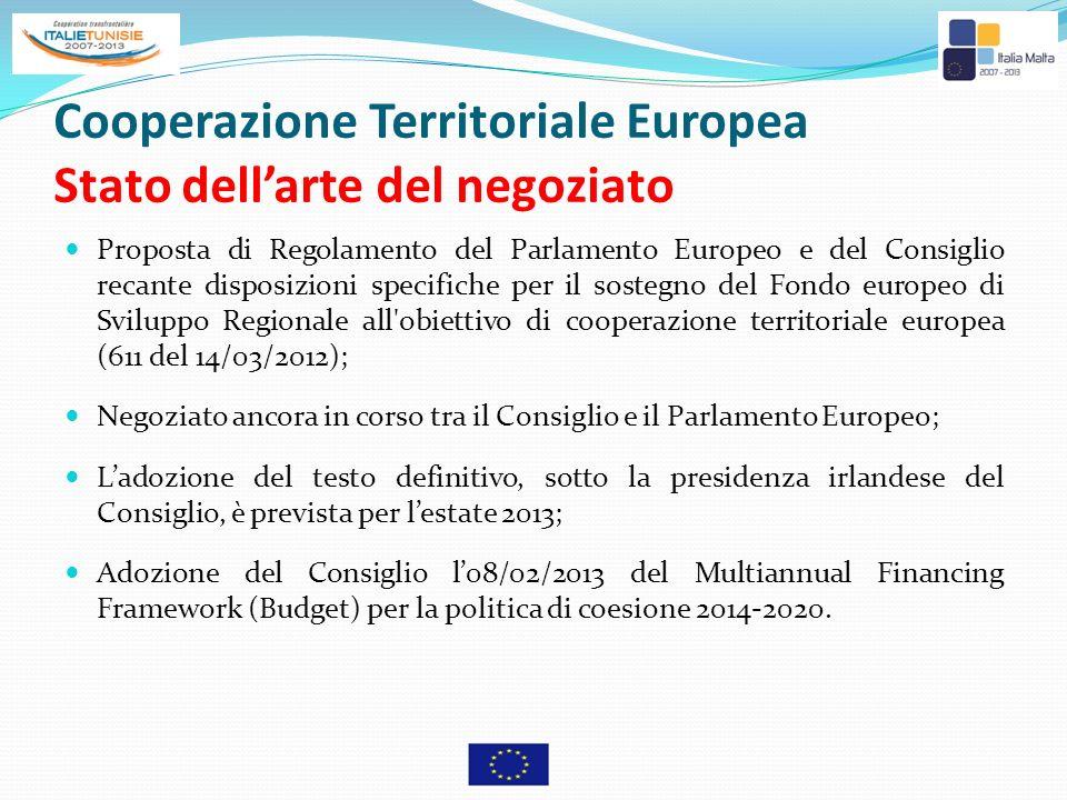 Cooperazione Territoriale Europea Stato dell'arte del negoziato