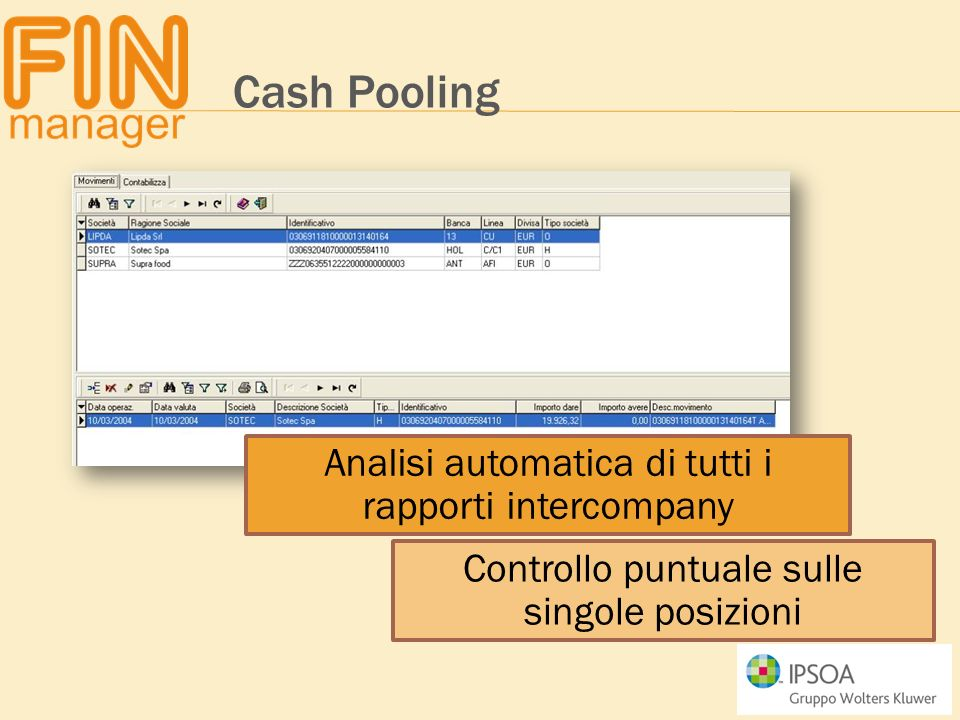 Cash Pooling Analisi automatica di tutti i rapporti intercompany