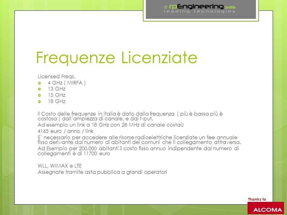 Frequenze Licenziate Licensed Freqs. 4 GHz ( MIRFA ) 13 GHz 15 GHz