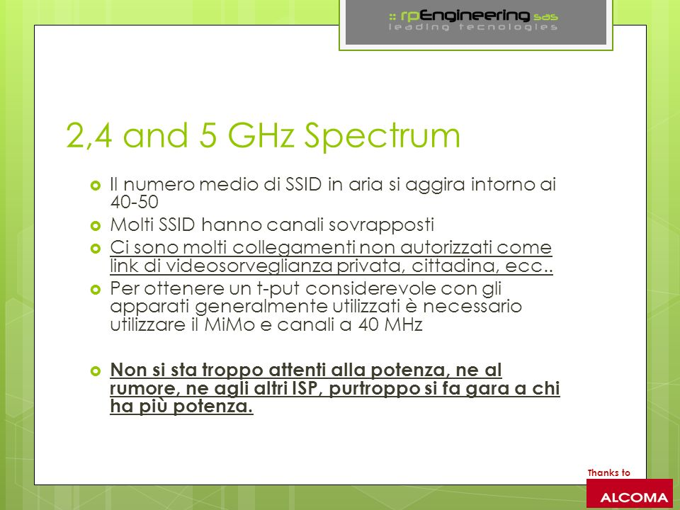 2,4 and 5 GHz Spectrum Il numero medio di SSID in aria si aggira intorno ai 40-50. Molti SSID hanno canali sovrapposti.