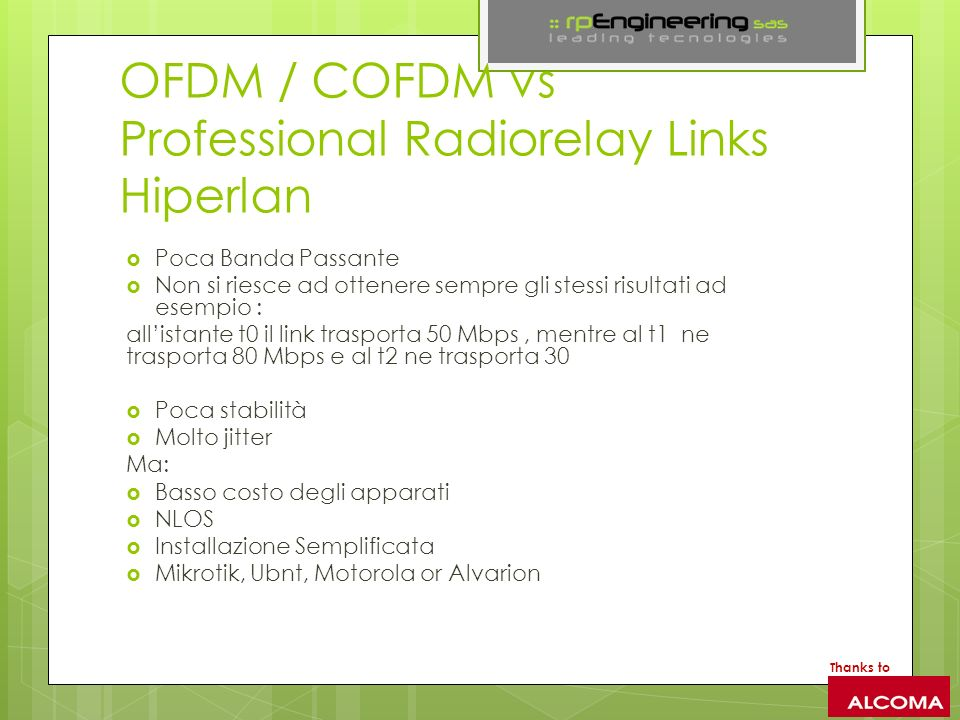 OFDM / COFDM vs Professional Radiorelay Links Hiperlan