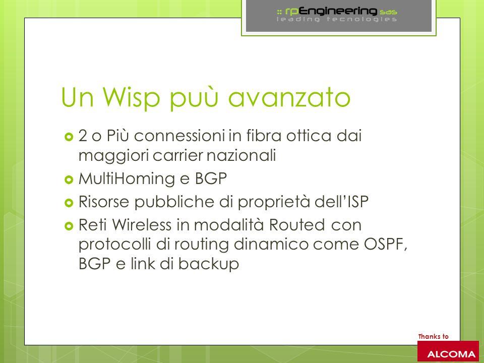 Un Wisp puù avanzato 2 o Più connessioni in fibra ottica dai maggiori carrier nazionali. MultiHoming e BGP.