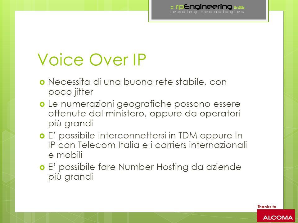 Voice Over IP Necessita di una buona rete stabile, con poco jitter