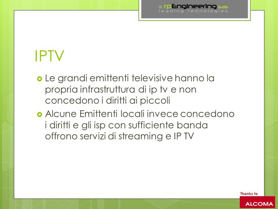 IPTV Le grandi emittenti televisive hanno la propria infrastruttura di ip tv e non concedono i diritti ai piccoli.