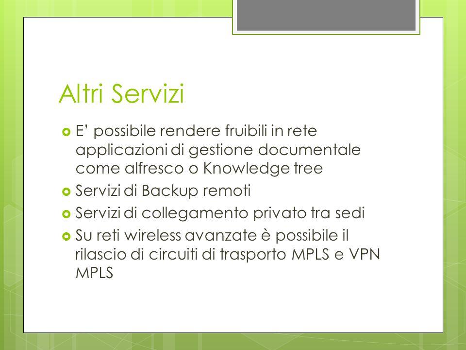 Altri Servizi E' possibile rendere fruibili in rete applicazioni di gestione documentale come alfresco o Knowledge tree.