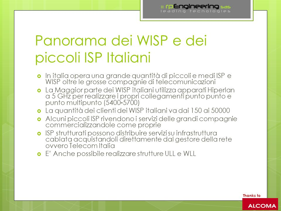 Panorama dei WISP e dei piccoli ISP Italiani