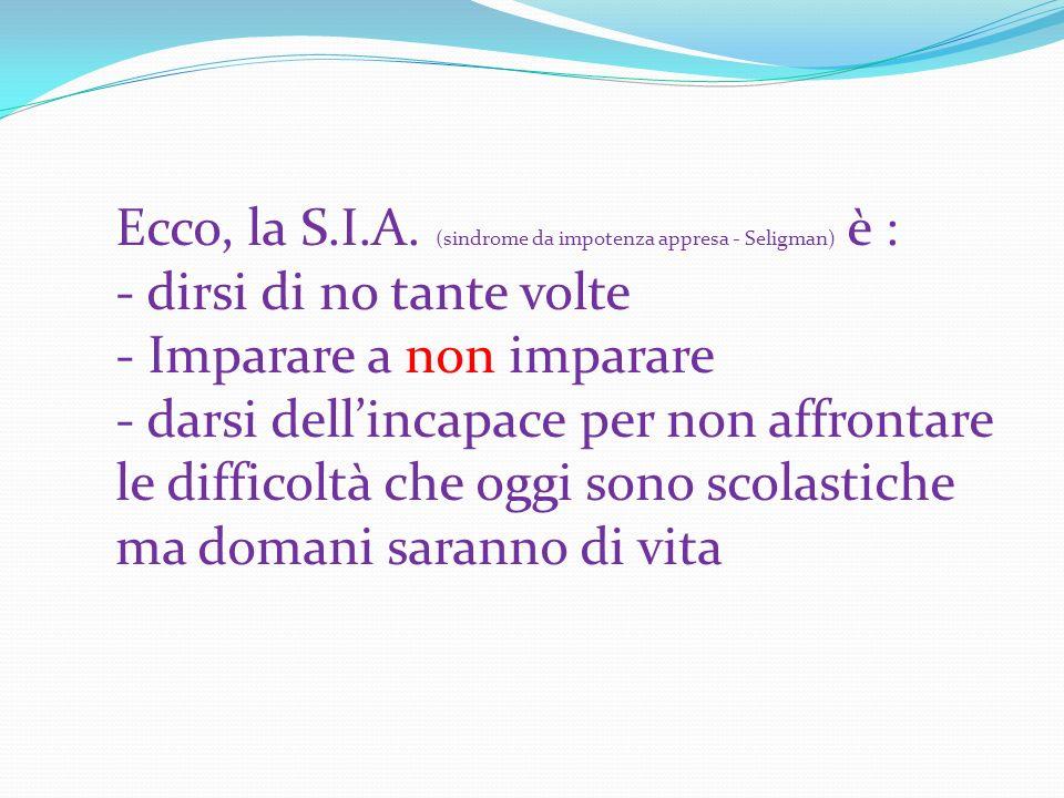 Ecco, la S.I.A. (sindrome da impotenza appresa - Seligman) è :