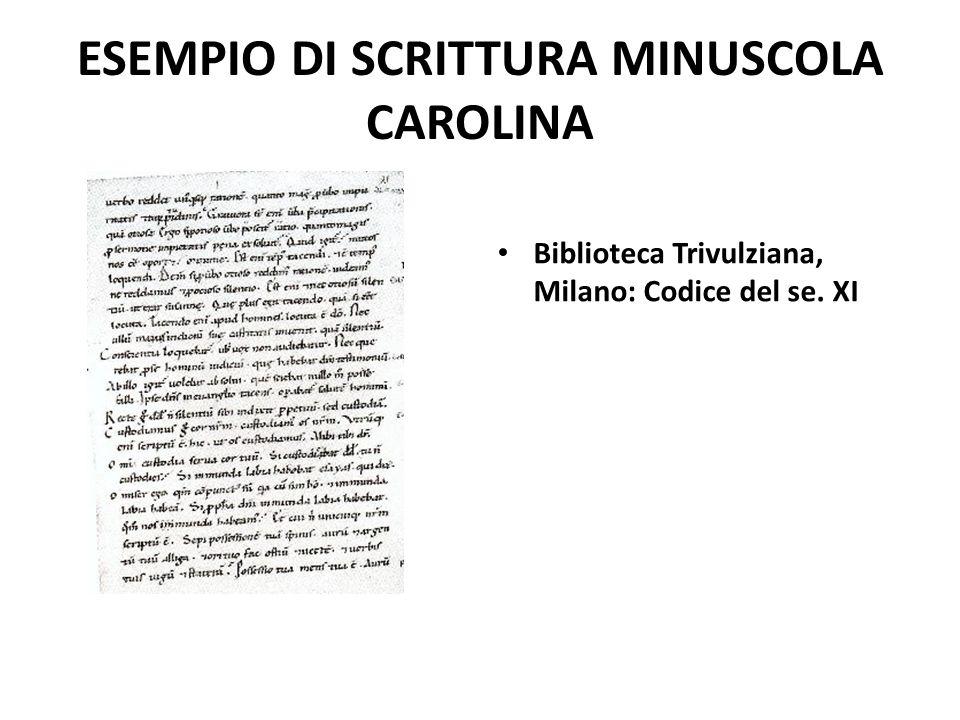 ESEMPIO DI SCRITTURA MINUSCOLA CAROLINA