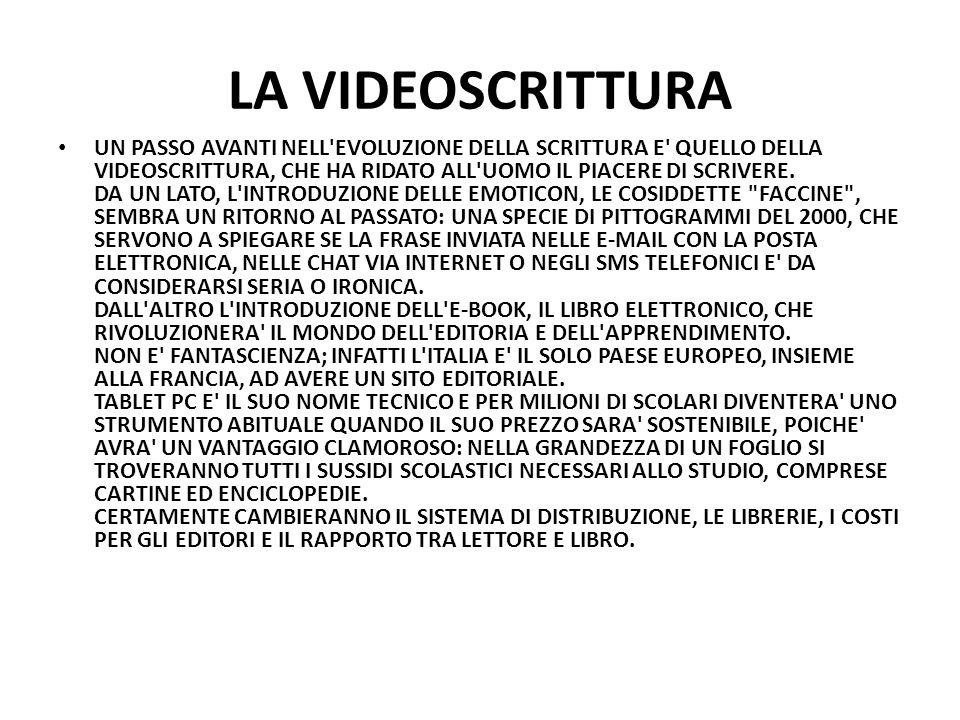 LA VIDEOSCRITTURA