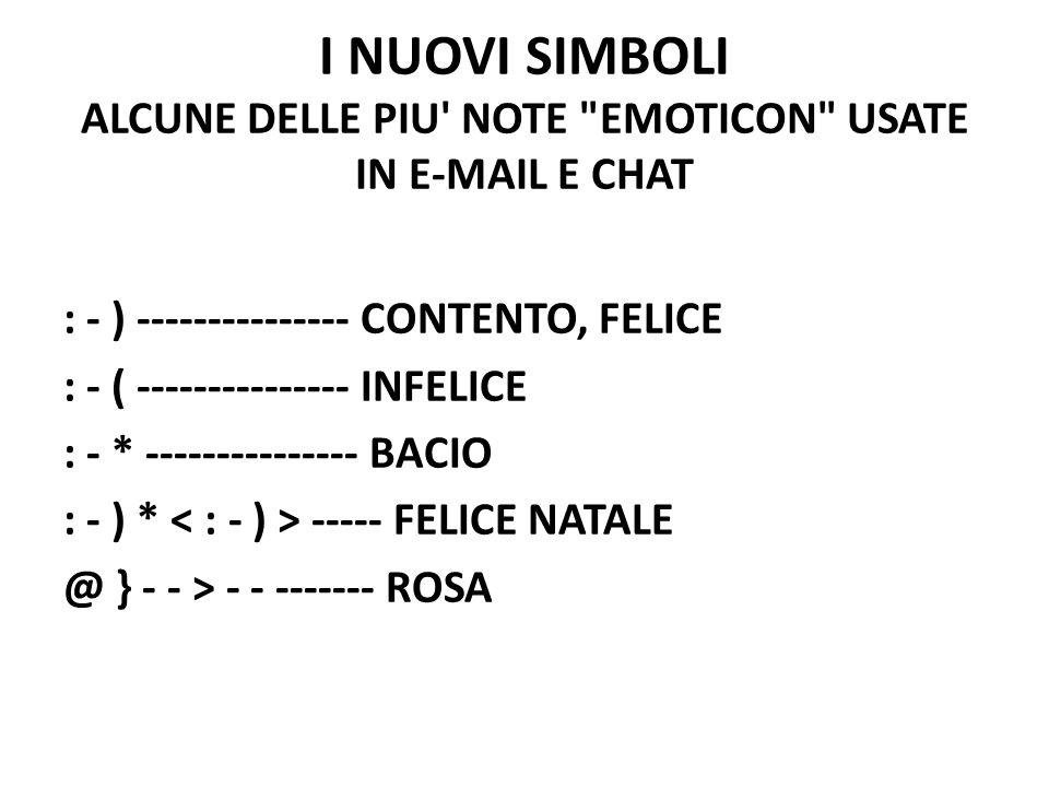 I NUOVI SIMBOLI ALCUNE DELLE PIU NOTE EMOTICON USATE IN E-MAIL E CHAT