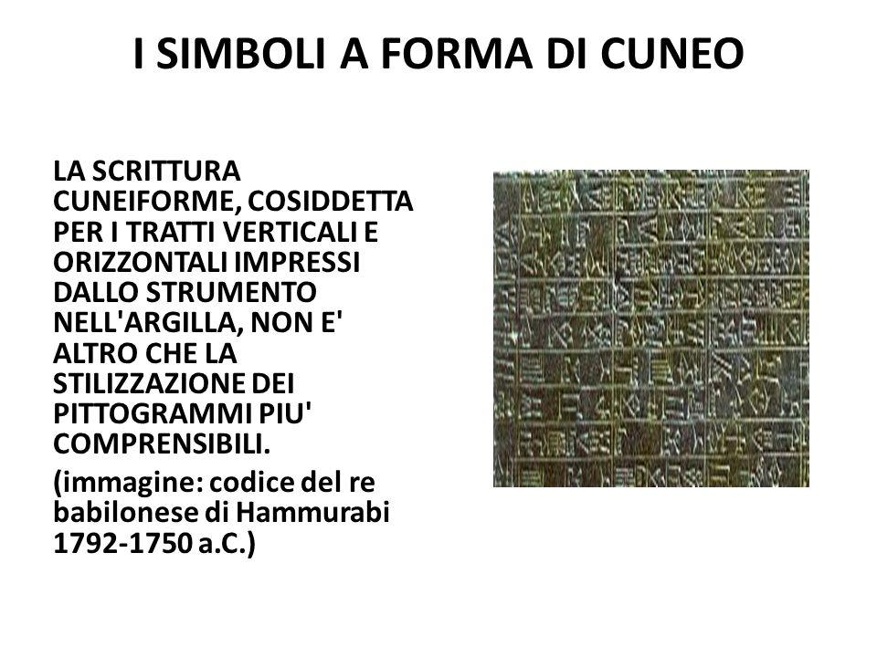 I SIMBOLI A FORMA DI CUNEO