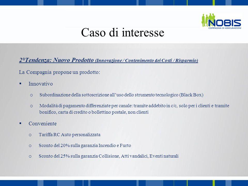 Caso di interesse 2°Tendenza: Nuovo Prodotto (Innovazione / Contenimento dei Costi / Risparmio) La Compagnia propone un prodotto: