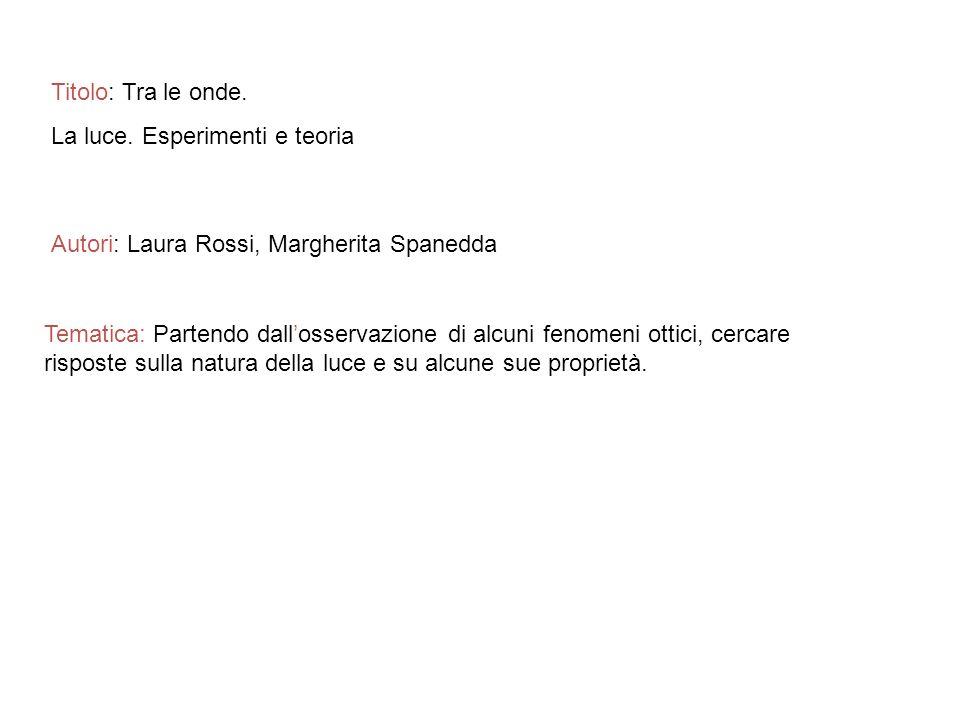 Titolo: Tra le onde. La luce. Esperimenti e teoria. Autori: Laura Rossi, Margherita Spanedda.