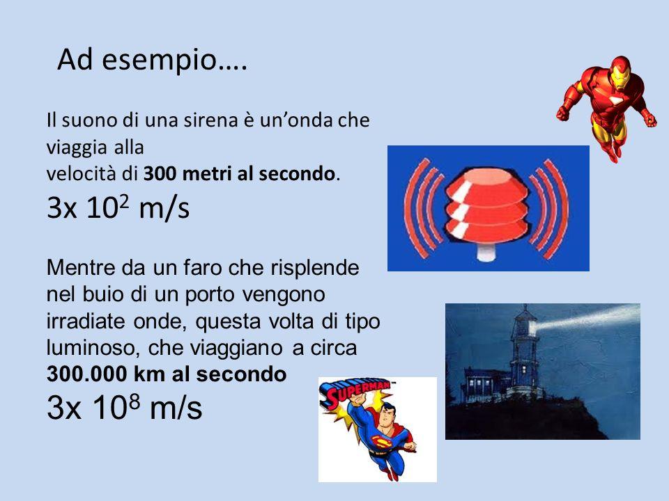 Ad esempio…. Il suono di una sirena è un'onda che viaggia alla. velocità di 300 metri al secondo. 3x 102 m/s.