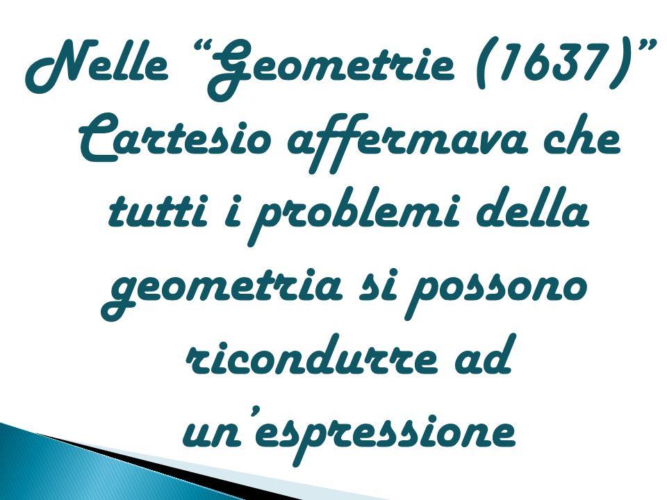Nelle Geometrie (1637) Cartesio affermava che tutti i problemi della geometria si possono ricondurre ad un'espressione