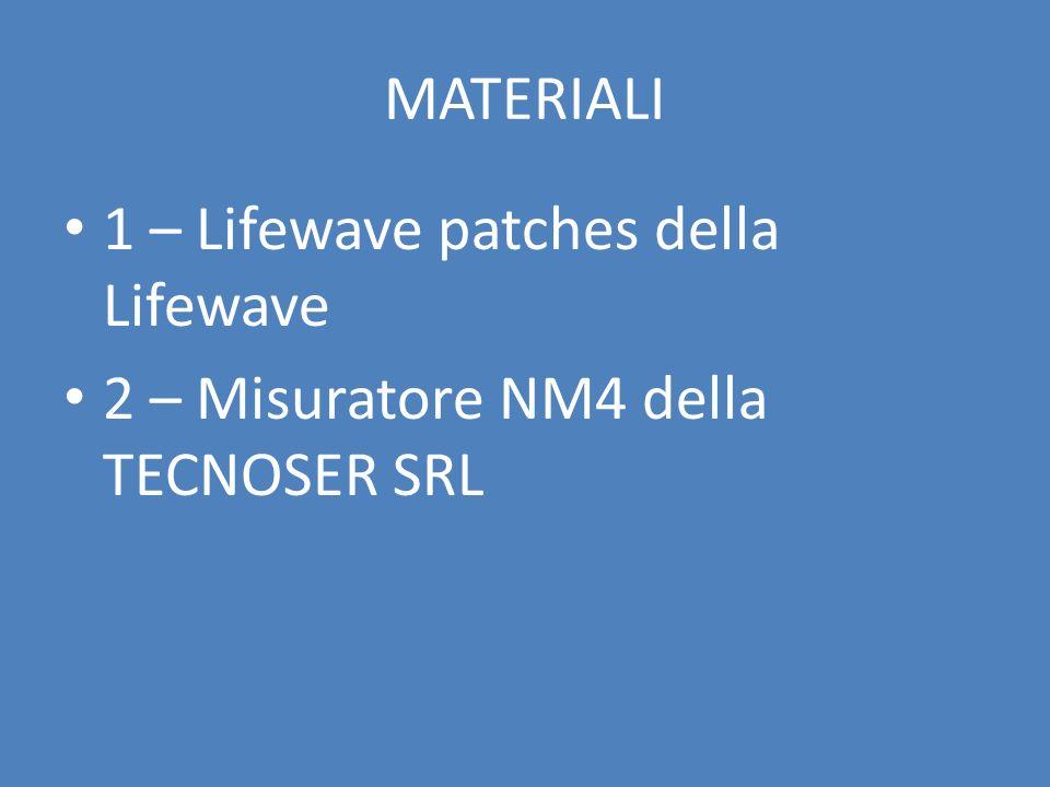 MATERIALI 1 – Lifewave patches della Lifewave 2 – Misuratore NM4 della TECNOSER SRL