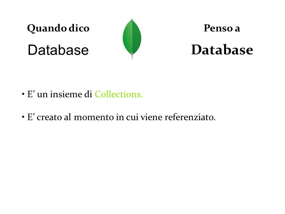 Database Database Quando dico Penso a • E' un insieme di Collections.