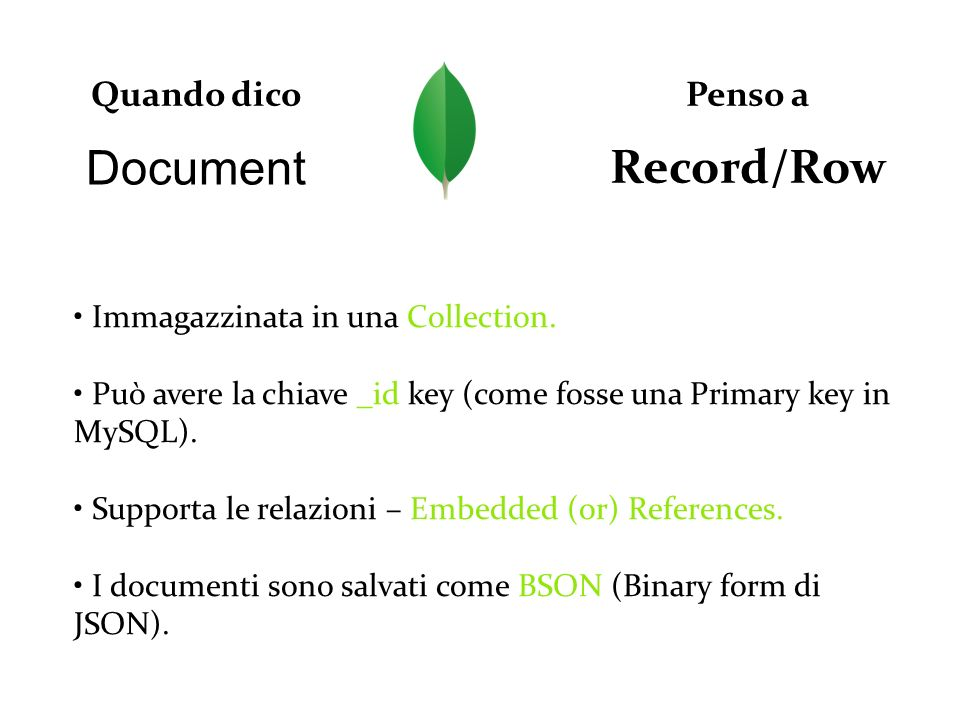Record/Row Document Quando dico Penso a