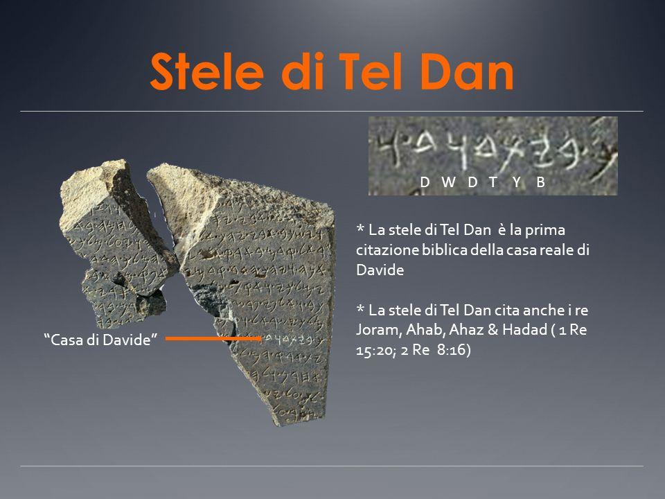 Stele di Tel Dan D W D T Y B. * La stele di Tel Dan è la prima citazione biblica della casa reale di Davide.