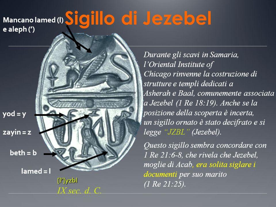 Sigillo di Jezebel IX sec. d. C. Durante gli scavi in Samaria,