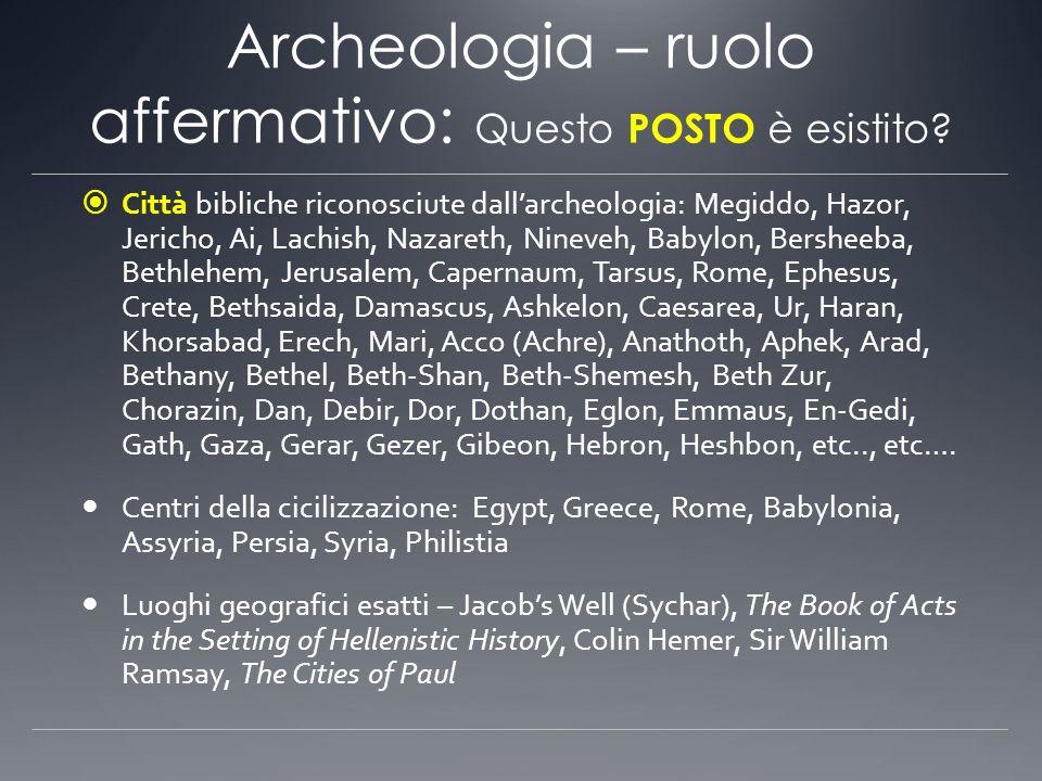 Archeologia – ruolo affermativo: Questo POSTO è esistito