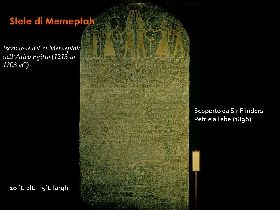 Stele di Merneptah Iscrizione del re Merneptah nell'Atico Egitto (1213 to 1203 aC) Scoperto da Sir Flinders Petrie a Tebe (1896)