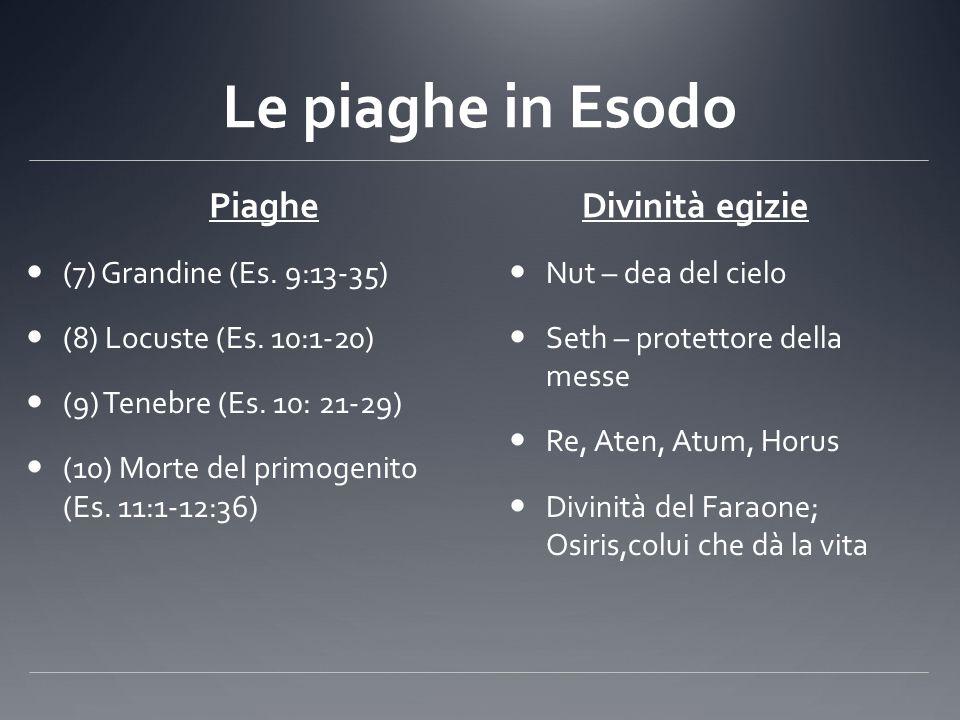Le piaghe in Esodo Piaghe Divinità egizie (7) Grandine (Es. 9:13-35)
