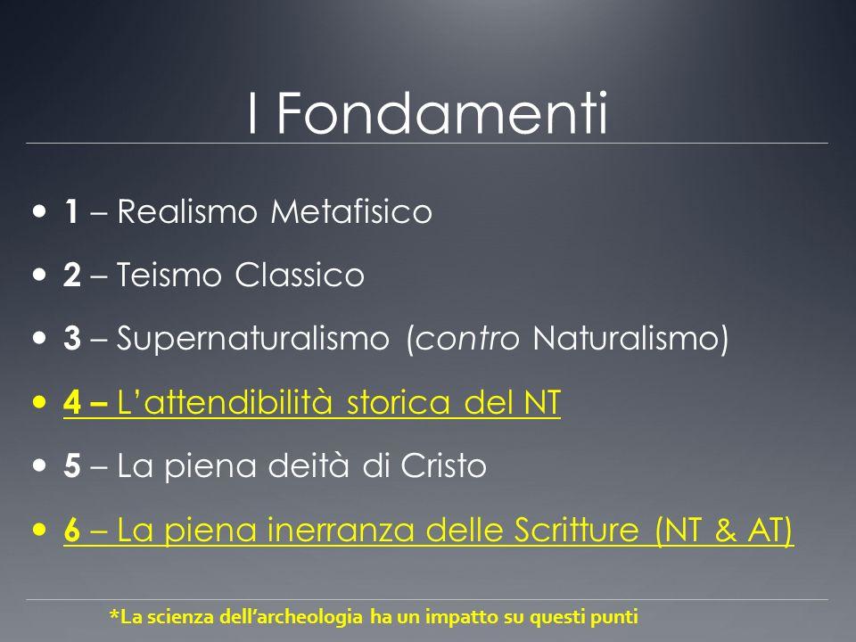 I Fondamenti 1 – Realismo Metafisico 2 – Teismo Classico