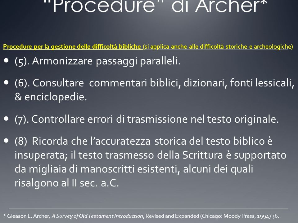 Procedure di Archer*