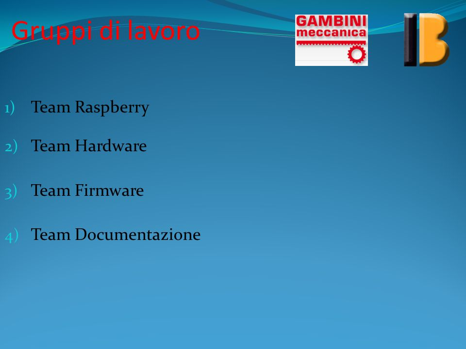 Gruppi di lavoro Team Raspberry Team Hardware Team Firmware