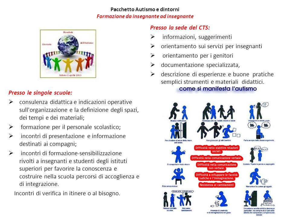 Pacchetto Autismo e dintorni Formazione da insegnante ad insegnante