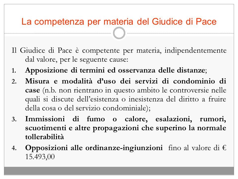 La competenza per materia del Giudice di Pace