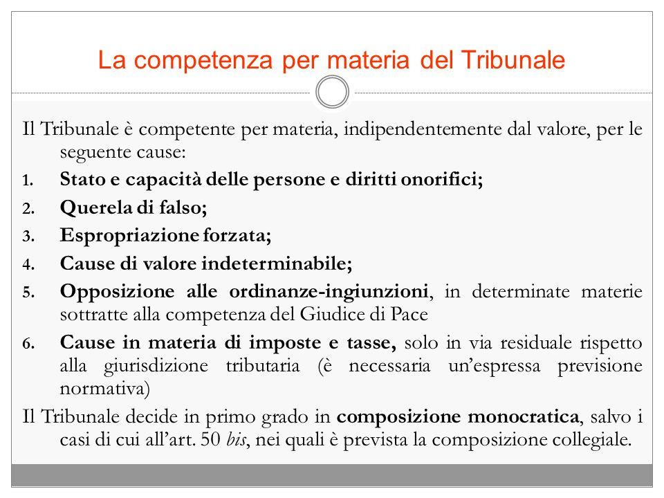 La competenza per materia del Tribunale